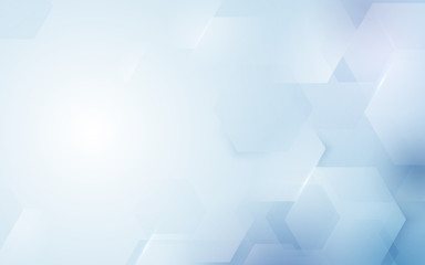 Wall Mural - Abstract repeating hexagonal shape on blue and white background
