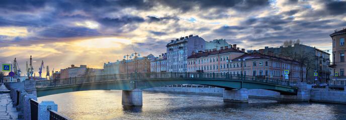 Fontanka River Embankment in St. Petersburg in decline beams