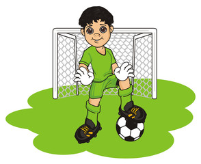 football, soccer, boy, child, cartoon, illustration, sport, game, uniform, t-shirt, shorts, boots, ball, gloves, goalkeeper, gate, grass,