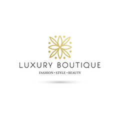 Simple and graceful floral monogram design template, Elegant lineart logo design template, vector icon illustration. Modern Style