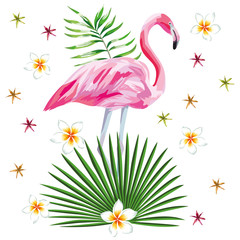 Flamingo print with flowers beach wallpaper