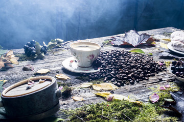 cup of coffee on the background of old tree and leaves