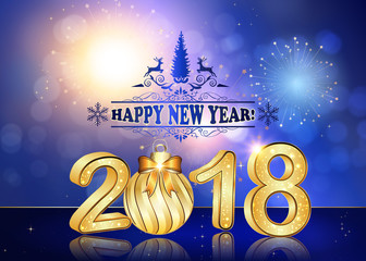 happy new year 2018 background greeting card