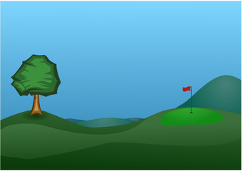 Golf course with a tree, Vector Illustration