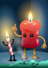 Three candles characters celebrating a party. Digital Illustration