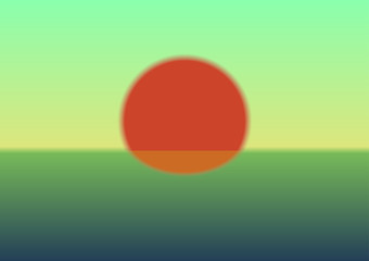 A sunset with a big red Sun. Vector Illustration