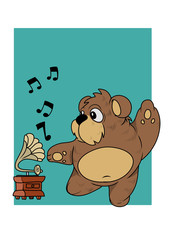 Little bear dancing with the music of a old gramophone. Vector Illustration