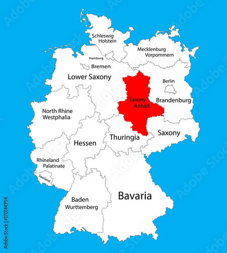 SaxonyAnhalt Sachen Anhalt state map Germany vector map