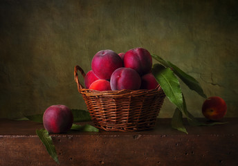 Still life with pears in the basket