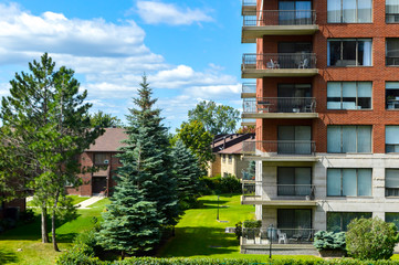 Modern condo buildings in Cote Saint-Luc, Canada