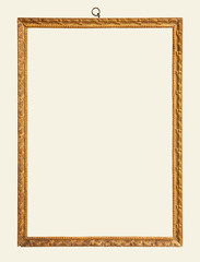 Old gold vintage frame isolated on white