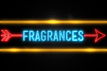 Fragrances  - fluorescent Neon Sign on brickwall Front view