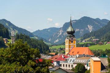 Roman Catholic Church in Schladming city center, Austria