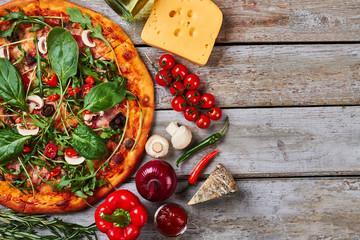 Bright image of italian pizza.