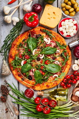 Bright image of pizza decoration.