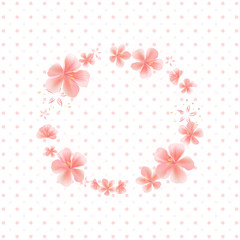 Flying Pink Sakura flowers isolated on White dotted background. Apple-tree flowers. Frame Cherry blossom. Vector
