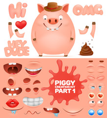 Creation kit of cartoon emoticon pig character