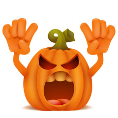 Halloween Pumpkin Jack Lantern emoticon cartoon character.