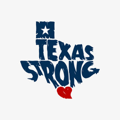 Texas Strong Map Logo Grunge Design
