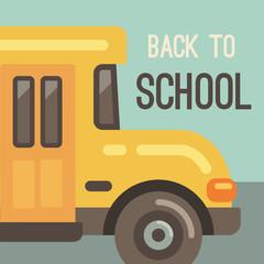 Yellow school bus flat illustration. Back to school