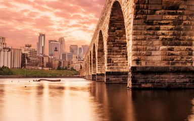 Sunset scene at Stone Arch Bridge, Minneapolis