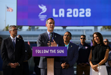 Los Angeles Mayor Garcetti speaks at the podium announcing that the city of Los Angeles will host the 2028 Olympic Games