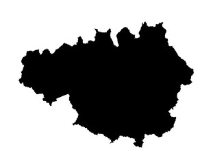 Vector map of Greater Manchester in North West England silhouette, United Kingdom.