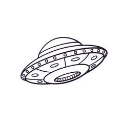 Vector illustration. Hand drawn doodle of toy UFO space ship. Cartoon sketch. Alien space ship. Futuristic unknown flying object. Isolated on white background
