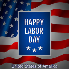 Labor Day. Banner for USA Labor Day. Background with trendy typography and USA flag buntings. Illustration.