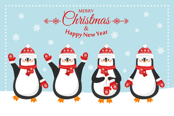 Merry christmas and a happy new year. Lovely postcard with different penguins in caps