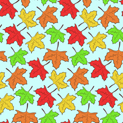 Autumn seamless pattern with falling colorful green, orange and red maple leaves. Nice seasonal fall texture for textile, wrapping paper, cover, wallpaper, background, surface
