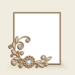 Vintage gold jewellery frame with floral corner decoration