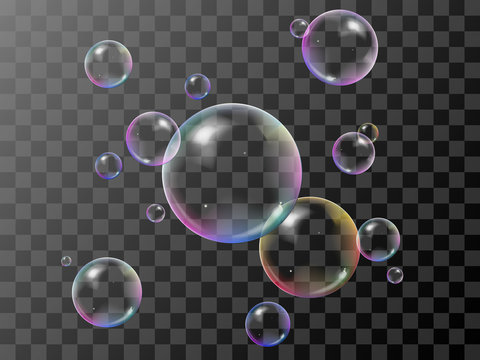 Realistic 3d soap bubbles set with rainbow reflection. Vector illustration. Transparent.