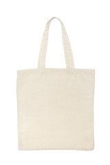 Beige cotton bag isolated on white background flat lay mockup