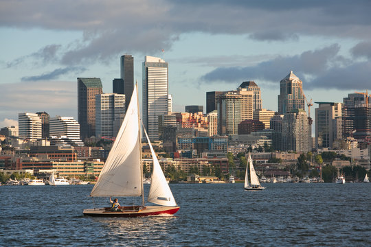 Sail boat and Seattle skyline