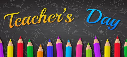 Happy Teacher's Day - concept of banner