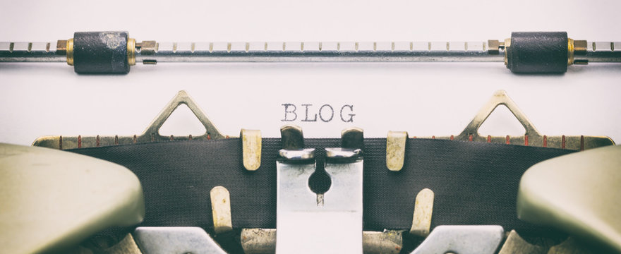 Blog word in capital letters on white sheet