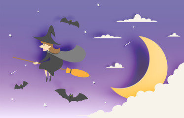 Witch on the broom paper art style with sky in the night