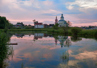 Pink sunset in Suzdal. Russia.