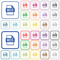 MDS file format outlined flat color icons