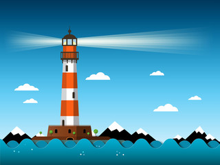 Lighthouse with Waves on Sea. Vector. Building with Mountains on Background.