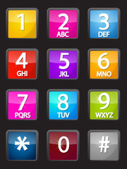 Colorful Vector Phone Dial. Glossy Buttons on Dark Background.