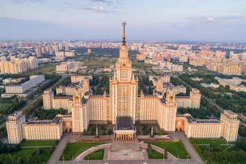 Moscow state university main campus. Russia. Aerial view.