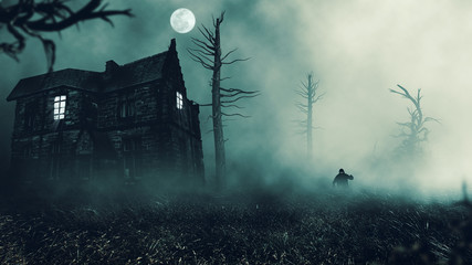 scary house in mysterious horror forest  Wall mural