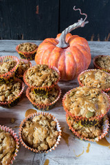 Pumpkin seed muffins with carmel sauce top view