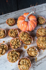 Pumpkin seed muffins with caramel sauce top view