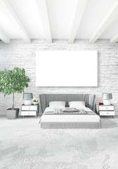 Vertical modern interior bedroom or living room with eclectic wall and empty frame for copyspace drawing. 3D rendering