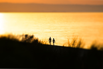 Couple, man and a woman, walking on the sand during the sunset. Blur effect. Abstract image. Love, friendship, relationship.