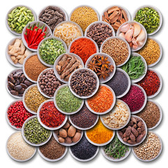 Fototapete - Bright colorful composition with spices and herbs