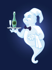 Ghost of a waiter with a tray with a bottle of wine and a glass. Vector